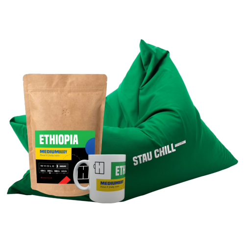 BUNDLE BEAN BAG STAU CHILL VERDE, CANĂ & CAFEA ETHIOPIA 500 GR